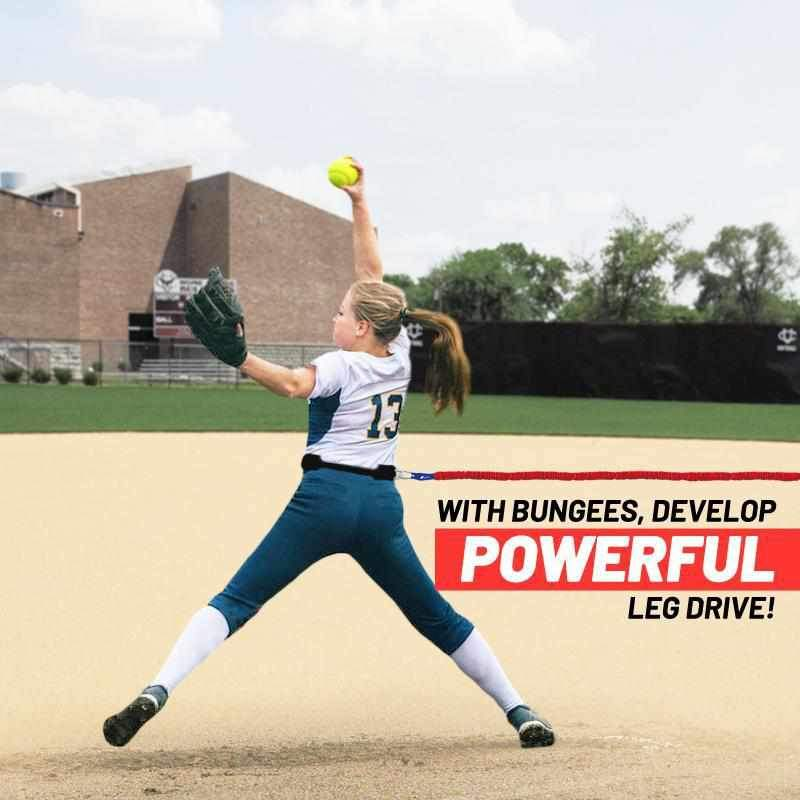 Softball Pitcher training resistance band with belt. Used to improve pitching speed, and form for softball and will build muscles for fast pitch
