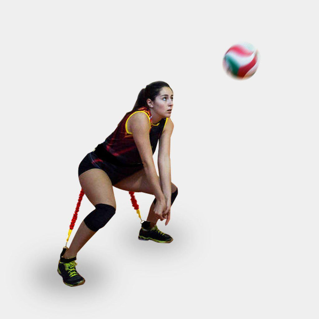 basketball and volleyball resistance band jump trainer to strengthen legs for higher vertical reaction response.