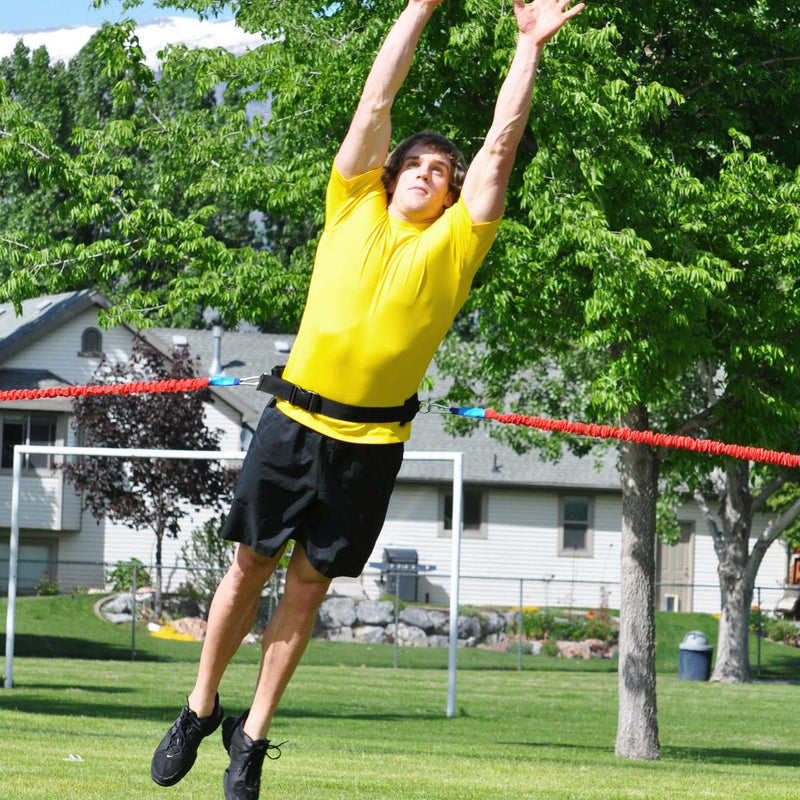 On field jump training system for Basketball, baseball, softball, rugby, soccer and so many more sports. use this system to increase jump height quickly in any athlete from youth to high school and even college organizations use this resistance band