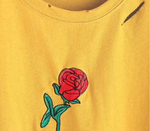 Yellow Rose Embroidered Ripped T-Shirt - Black Crown Fashion