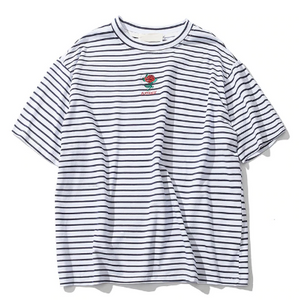 Rose Embroidery Striped Mens T-shirt Short Sleeve
