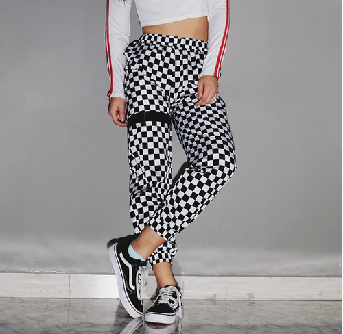Casual Checkered Track Pants Black Crown Fashion