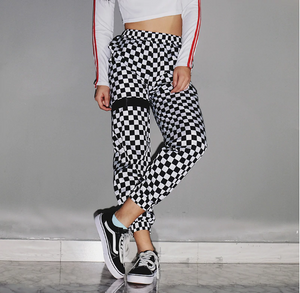 Casual Checkered Track Pants - Black Crown Fashion