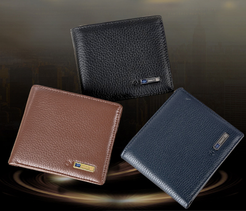 Genuine Leather Anti-Loss Smart Wallet - Black Crown Fashion