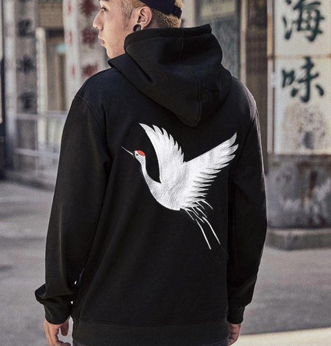 Embroidered Crane Hoodie - Black Crown Fashion