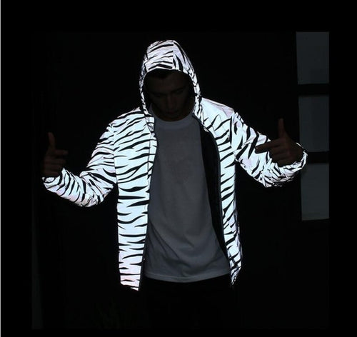 Reflective Zebra Windbreaker Jacket - Black Crown Fashion