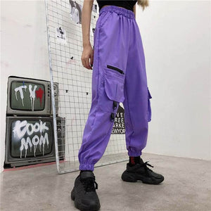 Baggy Tactical Trackpants - Black Crown Fashion