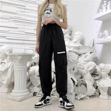 Load image into Gallery viewer, Baggy Tactical Trackpants - Black Crown Fashion