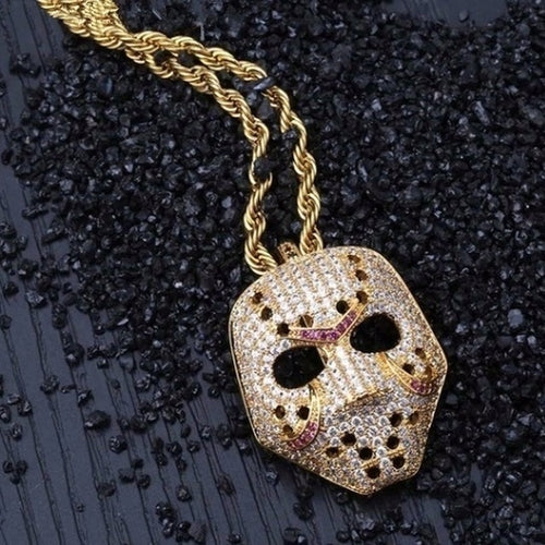 Iced Out Jason Voorhees Mask Chain - Black Crown Fashion