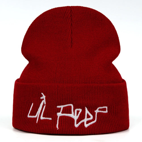 Lil Peep Beamer Boy Embroidered Beanie - Black Crown Fashion