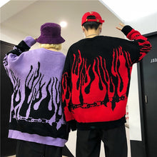 Load image into Gallery viewer, Flame Chain Knitted Crewneck - Black Crown Fashion