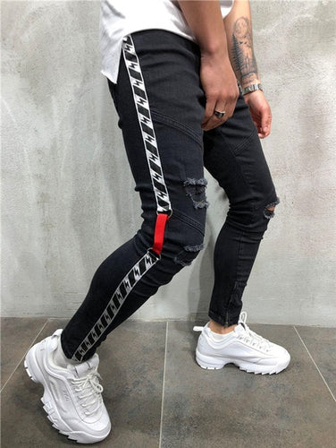 Voltage Ripped Skinny Jeans - Black Crown Fashion
