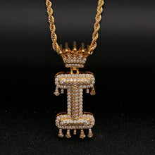 Load image into Gallery viewer, Customizable Gold Letter Drip Pendant - Black Crown Fashion