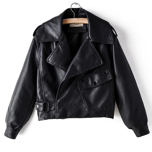 Premium Leather Biker Jacket - Black Crown Fashion