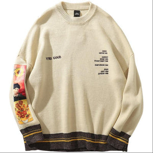 Van Gogh Vintage Wool Crewneck - Black Crown Fashion