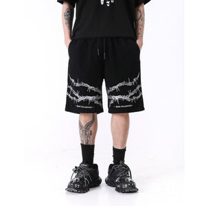 Barbed Wire Shorts - Black Crown Fashion