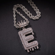 Load image into Gallery viewer, Customizable Silver Letter Drip Pendant - Black Crown Fashion