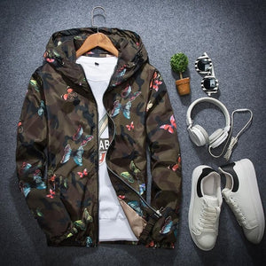 Butterfly Camo Windbreaker Jacket - Black Crown Fashion