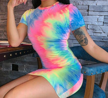 Load image into Gallery viewer, Tie Dye Mini Dress - Black Crown Fashion