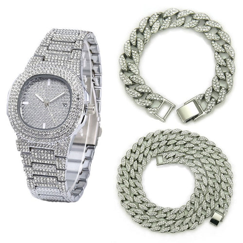 Signature Iced Out Watch Bundle - Black Crown Fashion