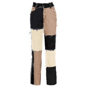 Patchwork Denim Jeans - Black Crown Fashion