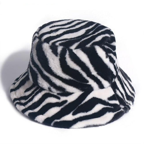 Soft Zebra Bucket Hat - Black Crown Fashion
