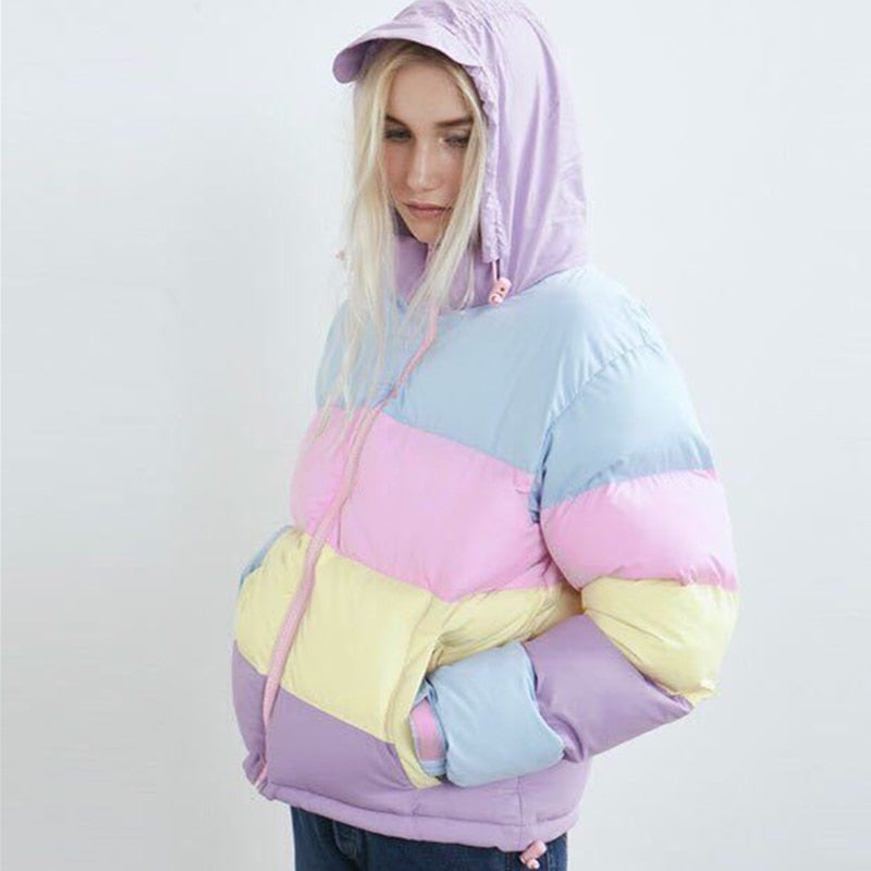 Cotton Candy Puffer Jacket - Black Crown Fashion