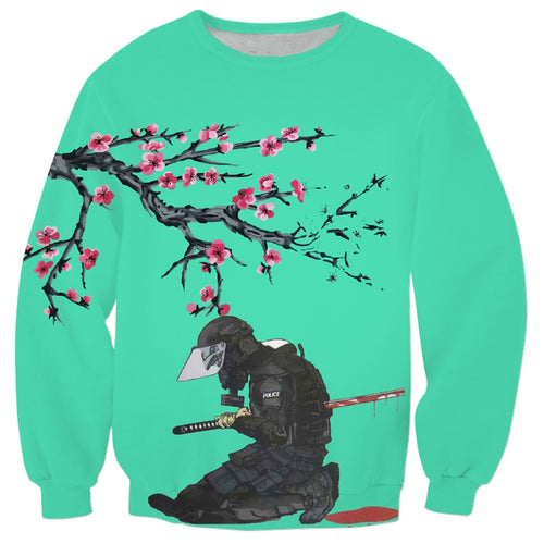 Japanese Cherry Blossom Katana Crewneck - Black Crown Fashion