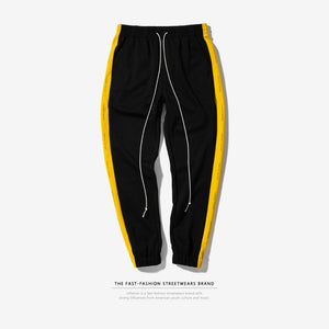 "Black/Yellow ""Forbidden Colours"" Side Stripe Joggers - Black Crown Fashion"