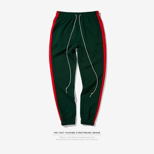 "Green/Red ""Forbidden Colours"" Side Stripe Joggers - Black Crown Fashion"