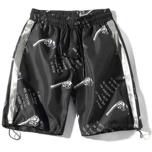 Reflective Gun Shorts - Black Crown Fashion