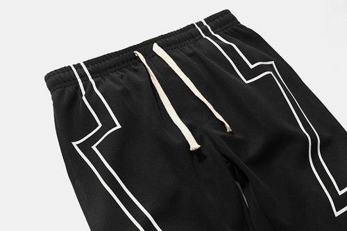 Lightning Stripe Joggers - Black Crown Fashion
