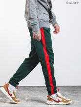 "Load image into Gallery viewer, Green/Red ""Forbidden Colours"" Side Stripe Joggers - Black Crown Fashion"