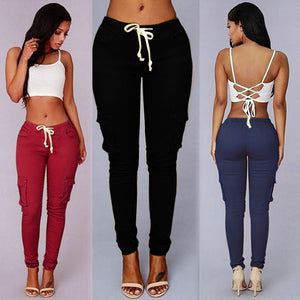 Women's Stretchy High Waist Pencil Pants - Black Crown Fashion