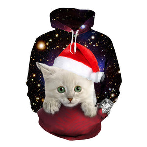 Holiday Cat Pullover Hoodie - Black Crown Fashion