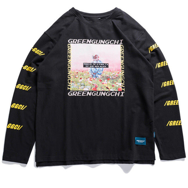 Greengunchi L/S Shirt - Black Crown Fashion