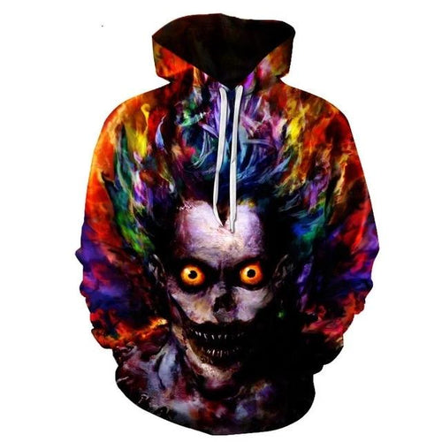 Black Crown Fashion Multicolor Skeletal Ryuk Hoodie