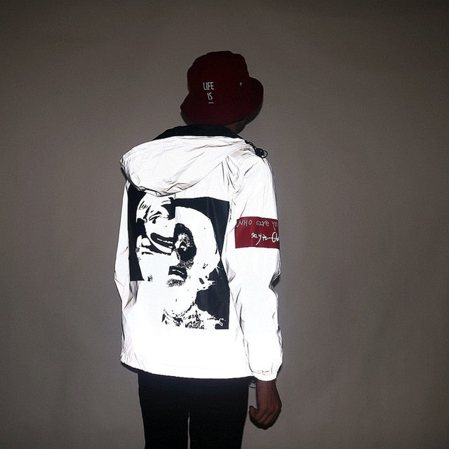 Distorted Faces Reflective Windbreaker - Black Crown Fashion