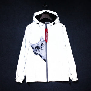 Peeping Cat Reflective Windbreaker - Black Crown Fashion