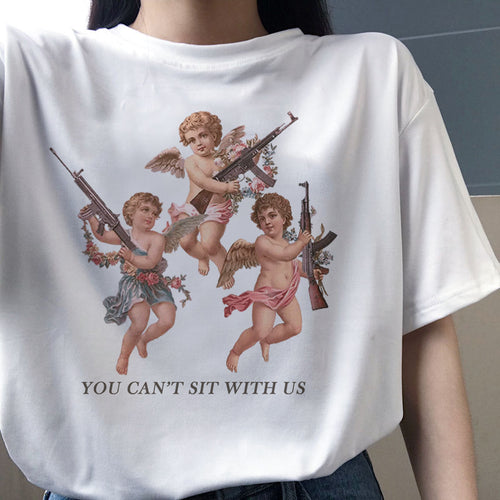 You Can't Sit With Us Angel T-shirt - Black Crown Fashion