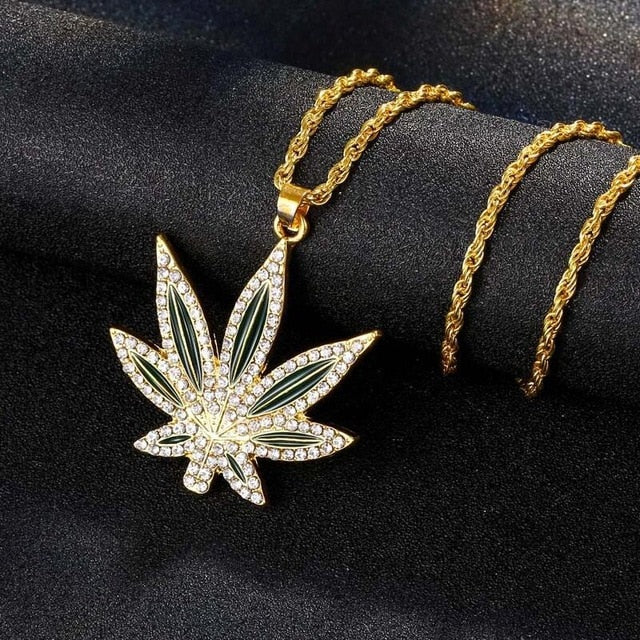 Iced Out 420 Weed Chain - Black Crown Fashion