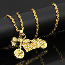 Load image into Gallery viewer, Iced Out Harley Davidson Skeleton Chain - Black Crown Fashion