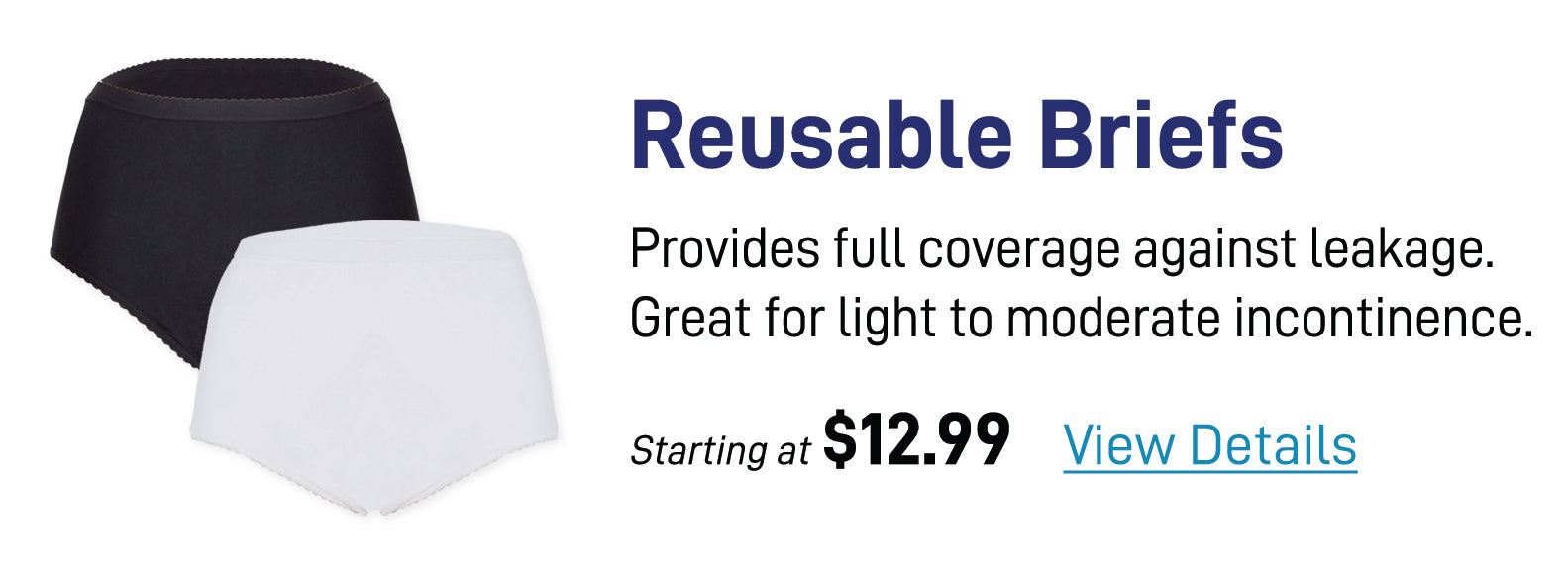 Reusable Briefs - Provides full coverage against leakage. Great for light to moderate incontinence.
