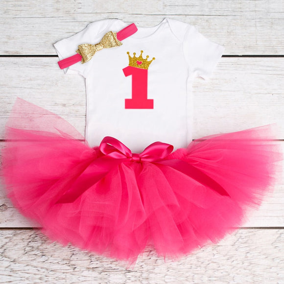 Baby Girl 1st Birthday Dress with Tutu and Headband