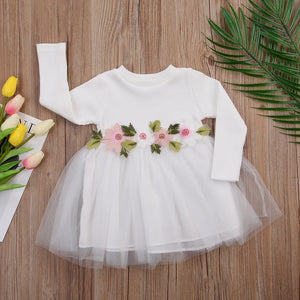 Flower Girls Long Sleeve Knitted Dresses For Baby Girl With Tutu [0-3Y]