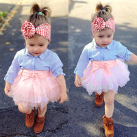 Girls Bow Striped Tops+Tutu Skirt Set (2Pcs)