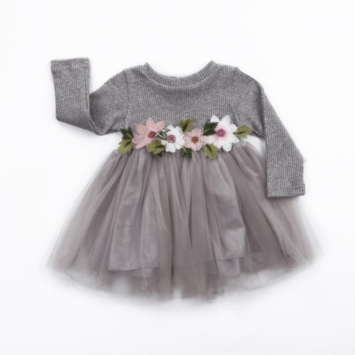 Long Sleeve Knitted Dresses With Tutu [0-3Y]
