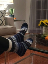 Load image into Gallery viewer, Soft Infuse Blue Diamond Sock: Aloe Infused Comfort Sock