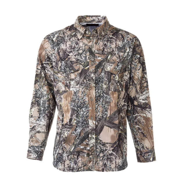 Insect Repelling Poly Cotton Camouflage Hunting Jacket: Washable Hunting Jacket with Embedded EPA-Approved Insect Repellent.