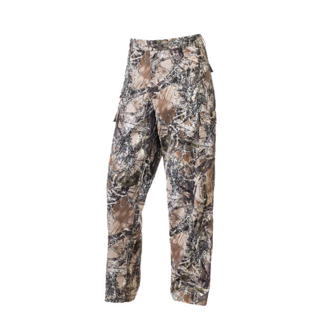 Insect Repelling Poly Cotton Camouflage Hunting Pants: Washable Hunting Pants with Embedded EPA-Approved Insect Repellent.